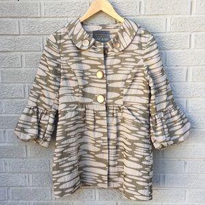 Mac & Jac Pleated Waist Metallic Print Jacket